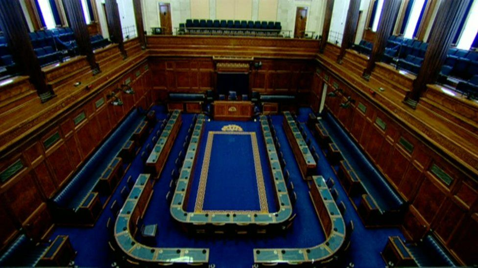 Empty Stormont debating chamber