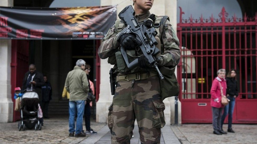 Soldier on duty in France