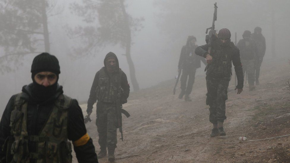 YPG fighters have been seen to the north-east of Afrin