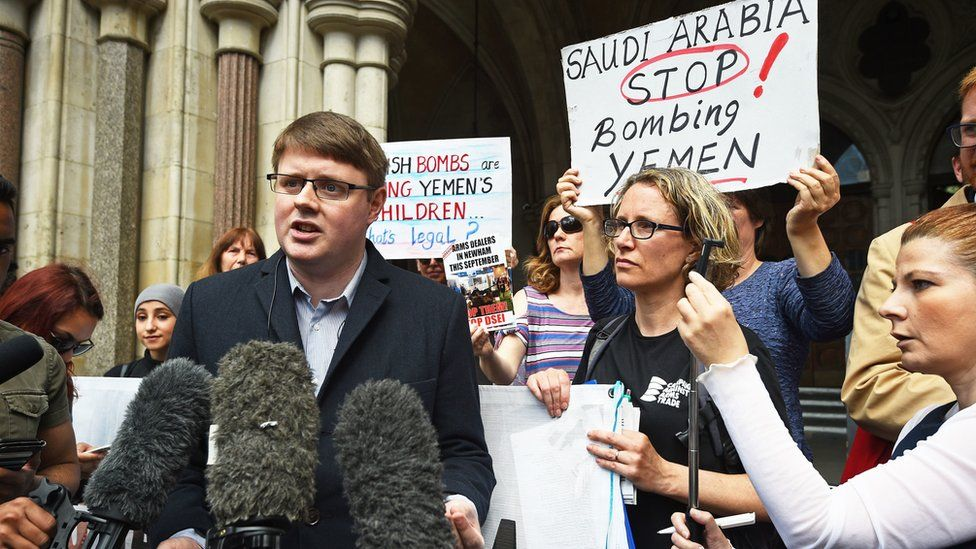 Andrew Smith, spokesperson for Campaign Against Arms Trade, speaks to the media