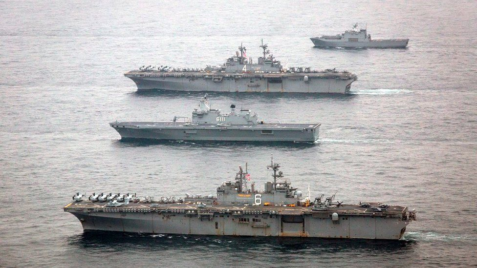 US naval ships participating in this year's joint exercises