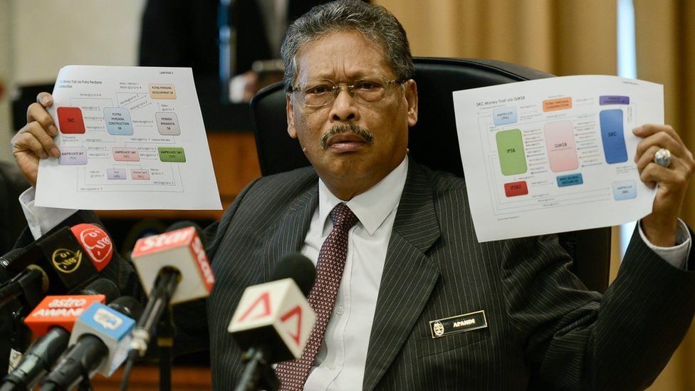 Malaysia's Attorney-General Mohamed Apandi Ali shows money flow charts at a news conference in Putrajaya, Malaysia, 26 January 2016