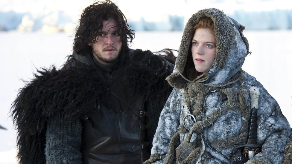 Kit Harington as Jon Snow and Rose Leslie as Ygritte in Game of Thrones