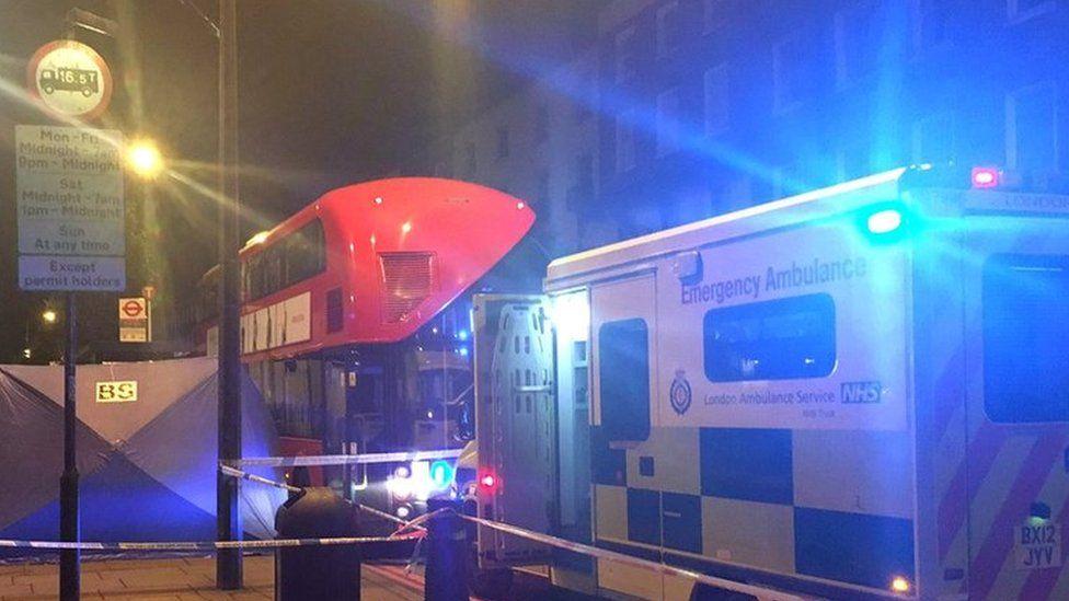 Bus and ambulance