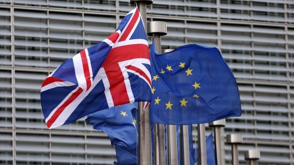 Union flag and flag of European Union