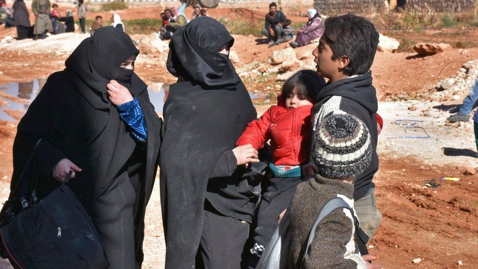 Aleppo residents at a camp in the government-held part of the city on 27 November 2016