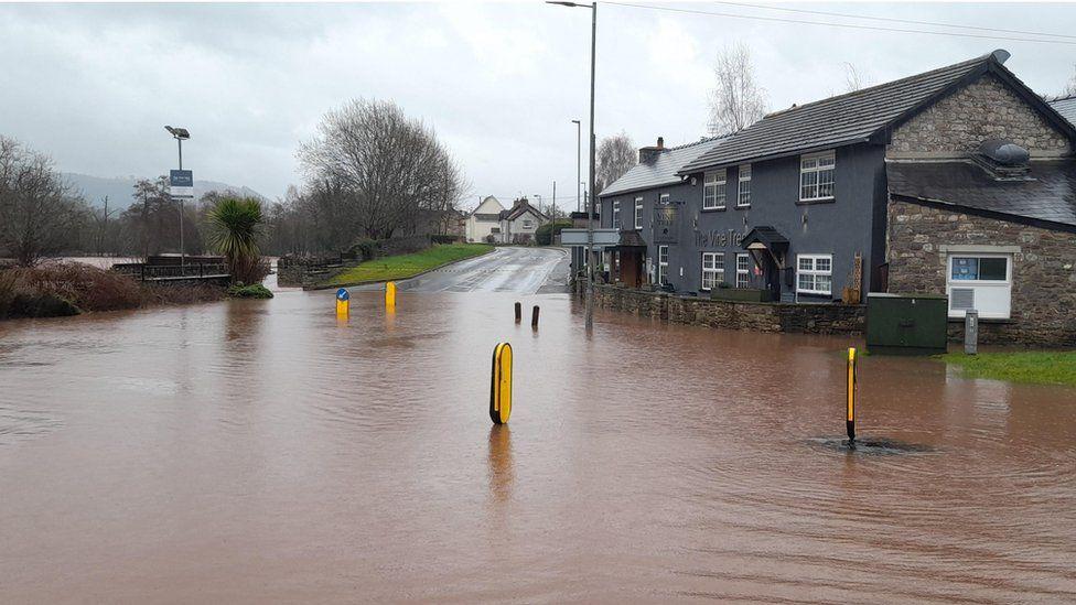 Flooded road in Llangattock