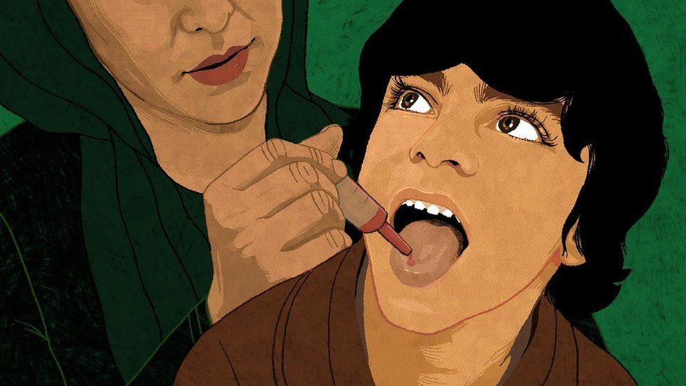 Illustration of a child having a polio vaccination