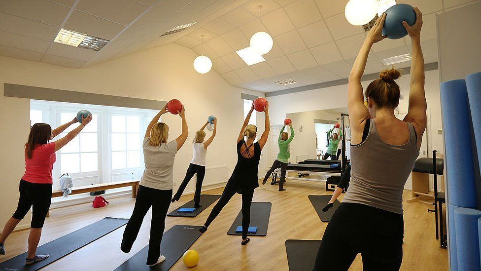 Women exercising with balls