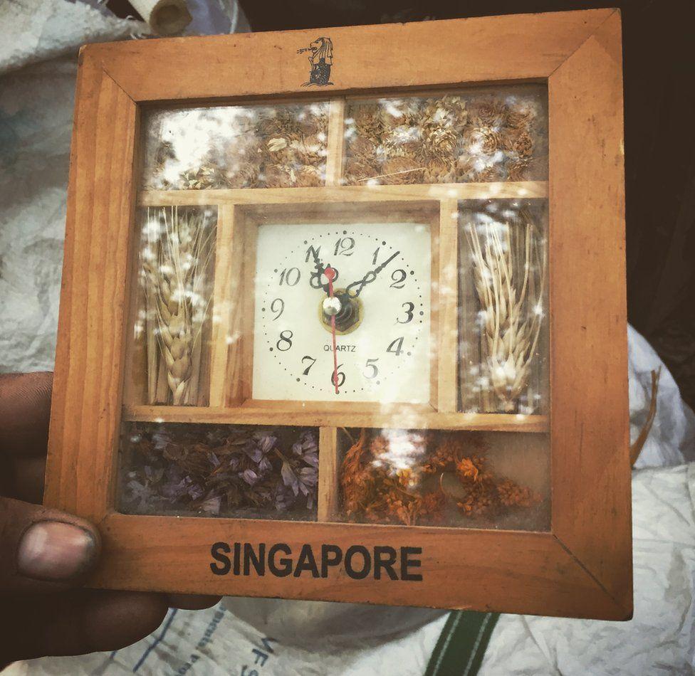 A wooden clock