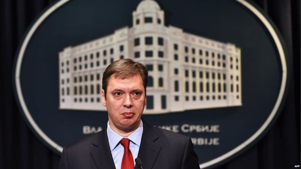 Serbian Prime Minister Aleksandar Vuvic looks on during a press conference in Belgrade.