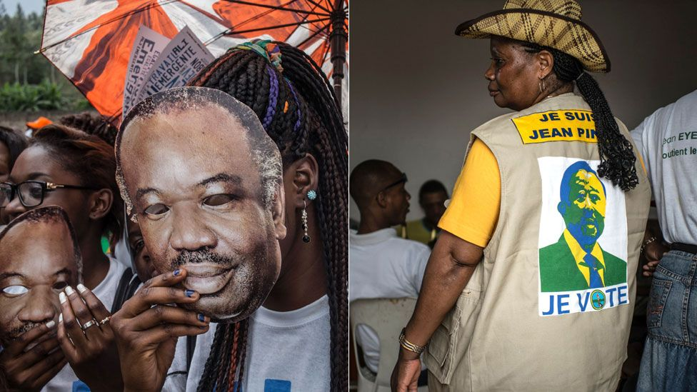 L: Ali Bongo supporters R: A Jean Ping supporter
