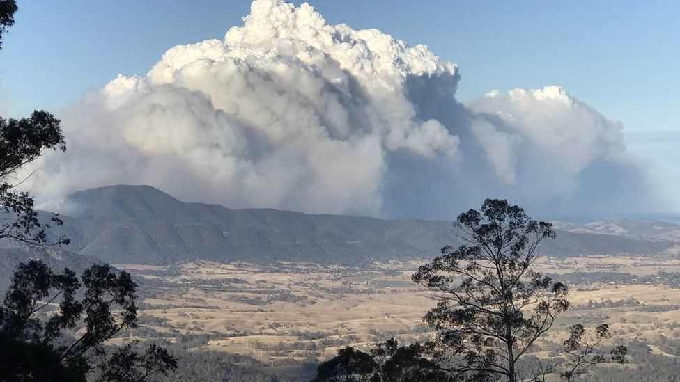 A view of the fire at Bemboka on the New South Wales south coast.