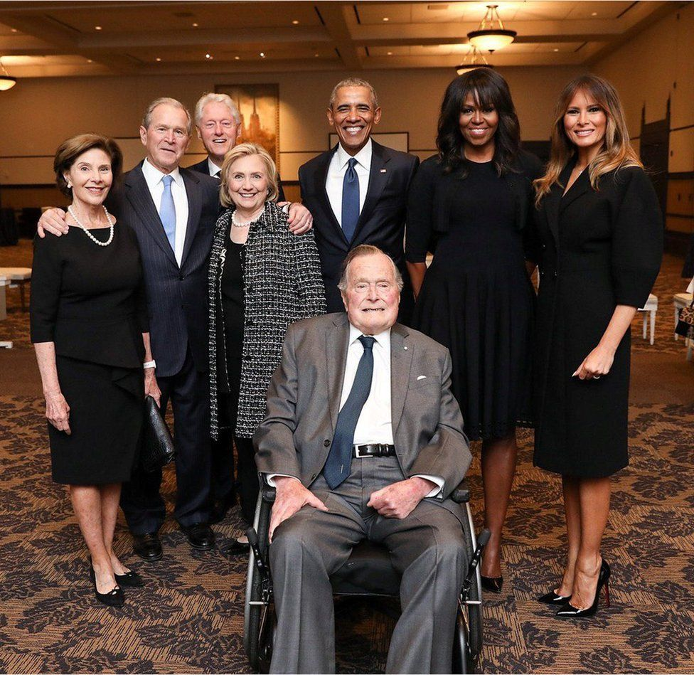 George H W Bush at Barbara Bush's funeral surrounded by former Presidents