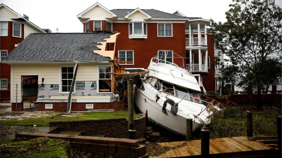 Boat marooned in backyard