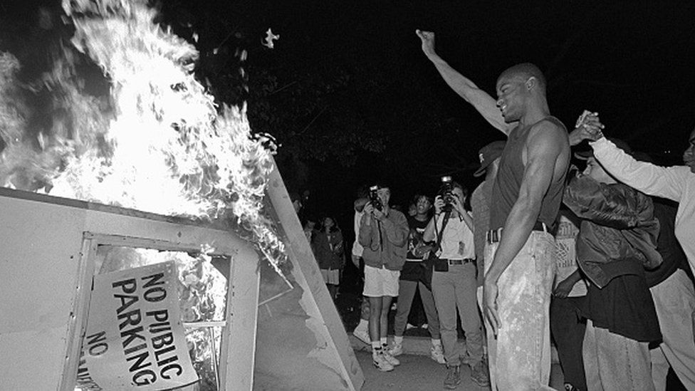 Rioters near Parker Center, LAPD headquarters in downtown Los Angeles