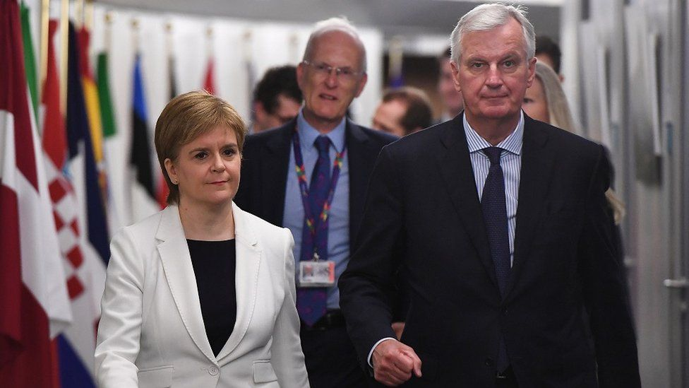 """Scotland""""s First Minister Nicola Sturgeon arrives for a meeting with European Union""""s chief Brexit negotiator Michel Barnier"""