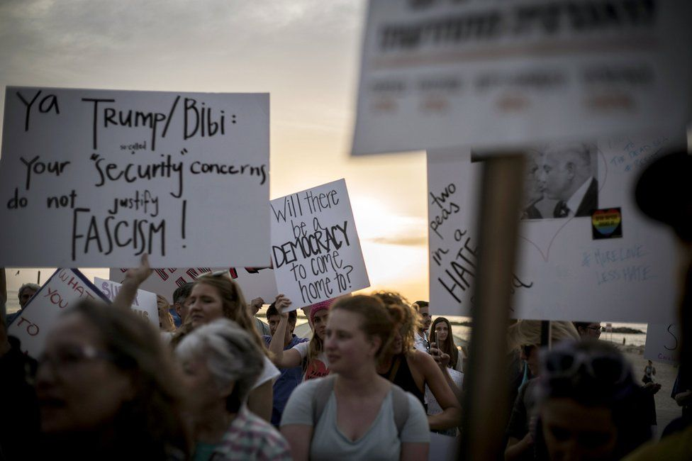 People protest against Donald Trump's visit to Israel in Tel Aviv, 22 May