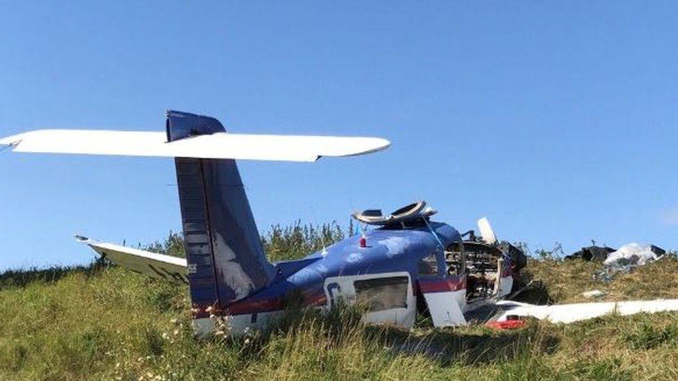 Wreckage of crashed plane
