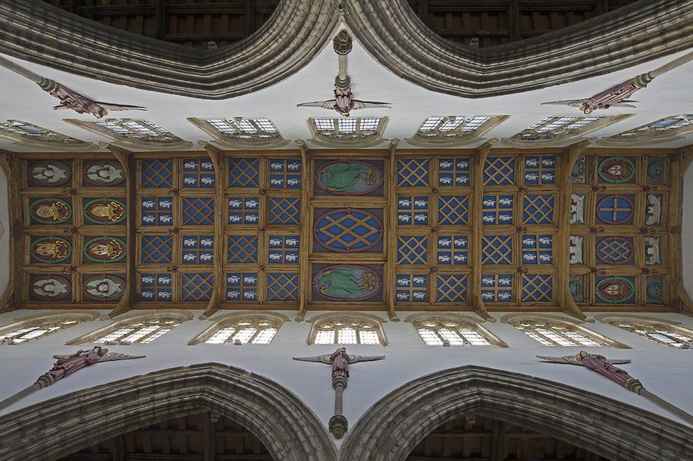 The ceiling of St Peter's Chapel, Auckland Castle.