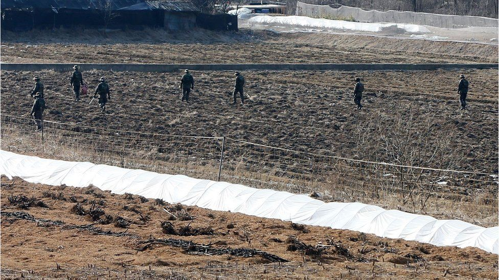 South Korean soldiers search the countryside for the North Korean pamphlets