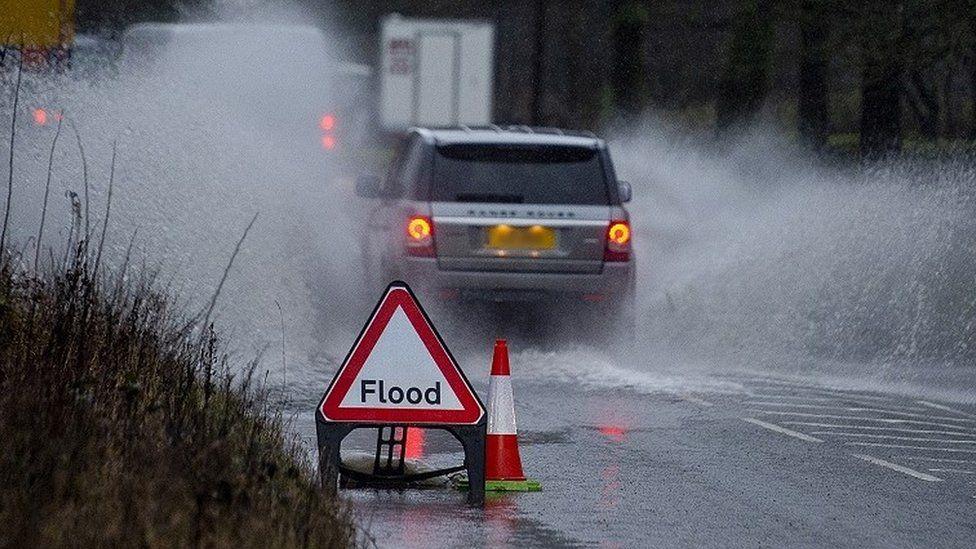 Flood warning sign in Walsden