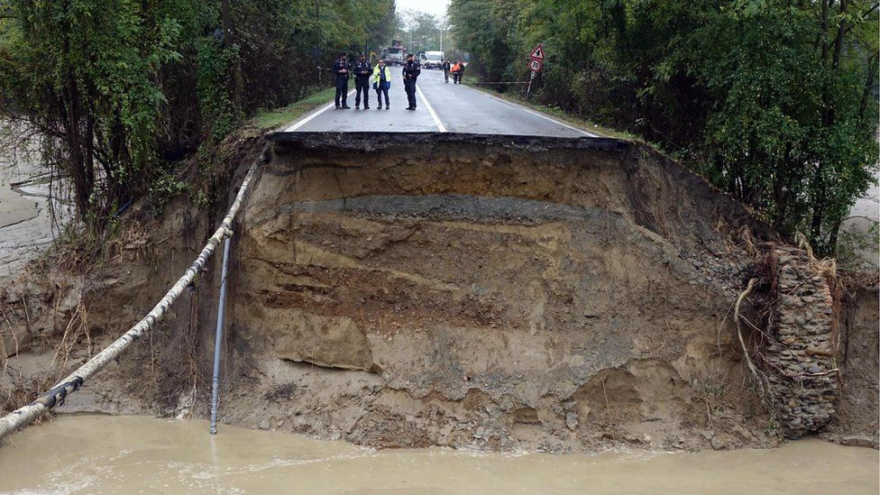 The collapsed road in the Alessandria area in Capriata d'Orba, Italy, 22 October 2019