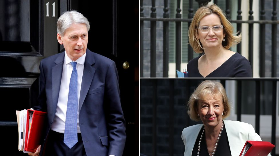 Top left bottom to top: Philip Hammond, Amber Rudd and Andrea Leadsom