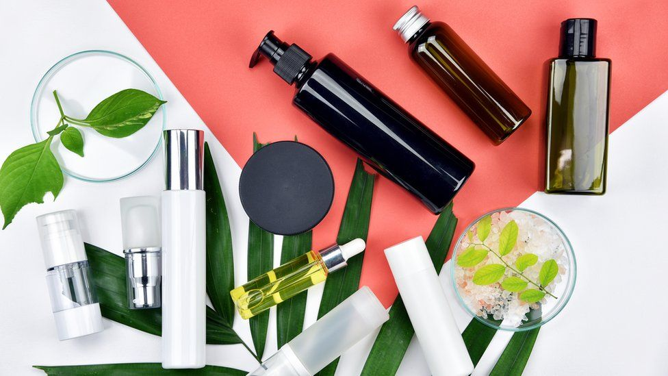 Beauty products in bottles