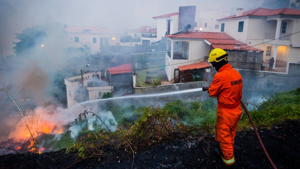 A fireman hoses a fire in a residential area of the city of Funchal, Madeira island, Portugal, 10 August 2016