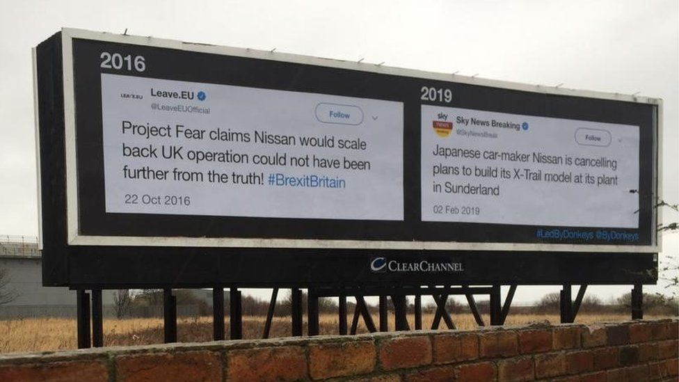 Billboard advertising erected by anti-Brexit group Led By Donkeys