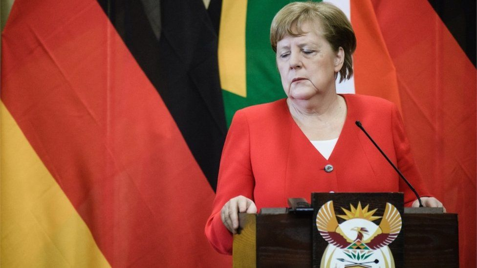 Angela Merkel at a press conference in South Africa