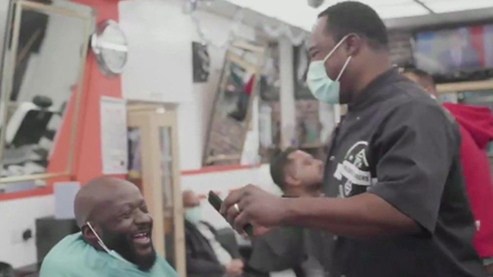 Ziggy inside his barbers