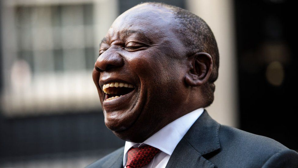 South Africa President Cyril Ramaphosa speaks to the media in Downing Street following a meeting with British Prime Minister Theresa May on 17 April 2018 in London, England.