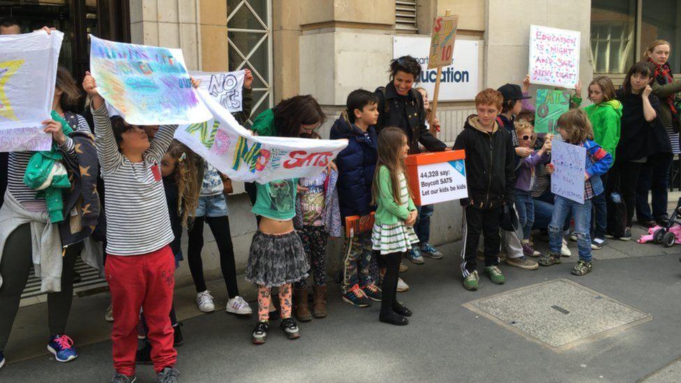 Protestors outside DFE