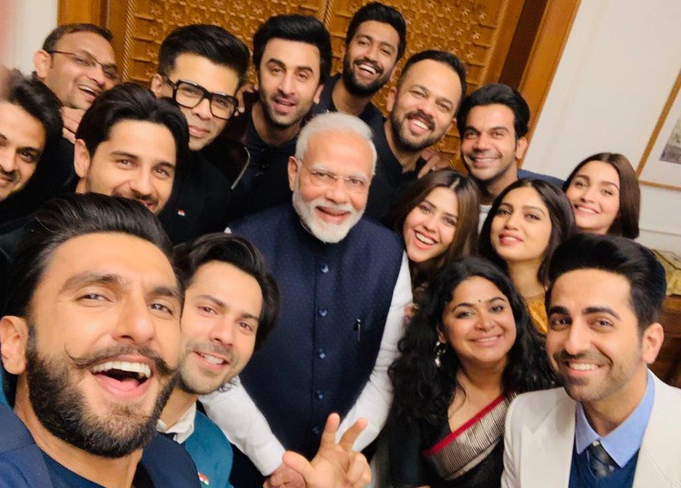 Some of Bollywood's biggest stars pose for a selfie with PM Modi