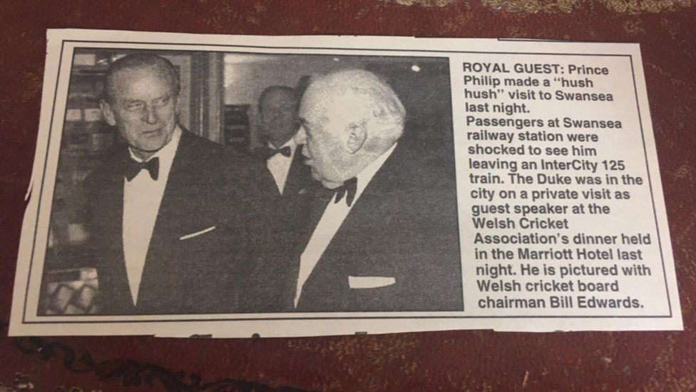 A newspaper cutting about the duke's visit to Swansea