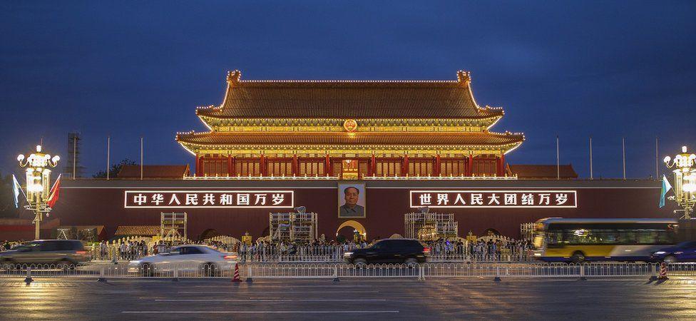 Mao's portrait hanging in Tiananmen Square