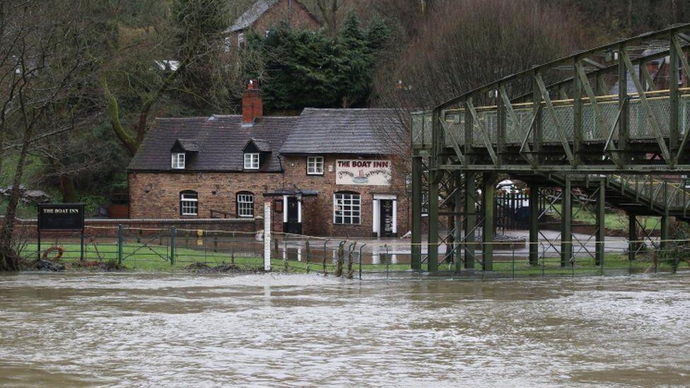 Floods near The Boat Inn in Jackfield near Ironbridge
