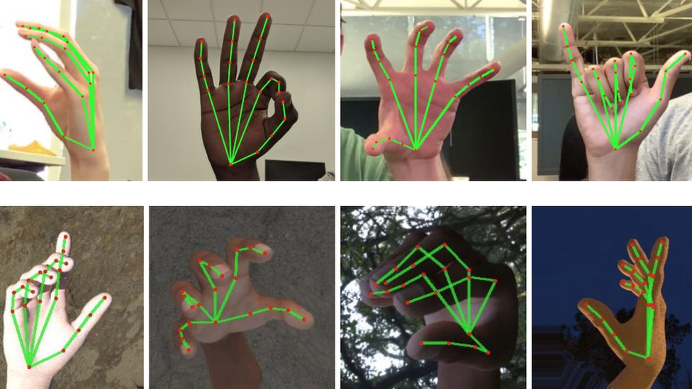 Graphs are mapped over pictures of hands