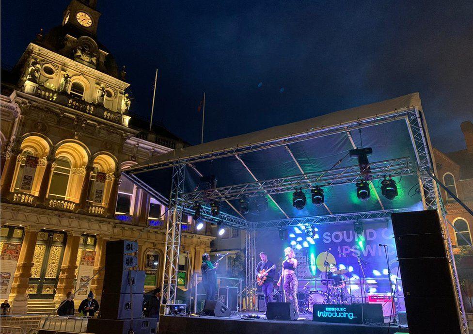 Stage on Ipswich's Cornhill