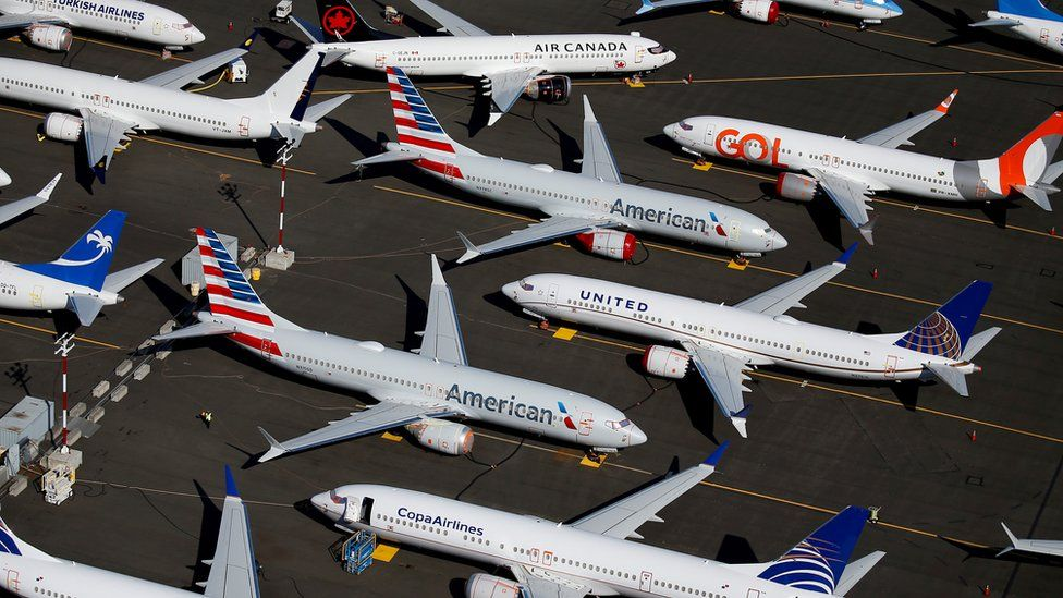 Grounded Boeing 737 MAX aircraft are seen parked in an aerial photo at Boeing Field in Seattle, Washington, U.S. July 1, 2019.