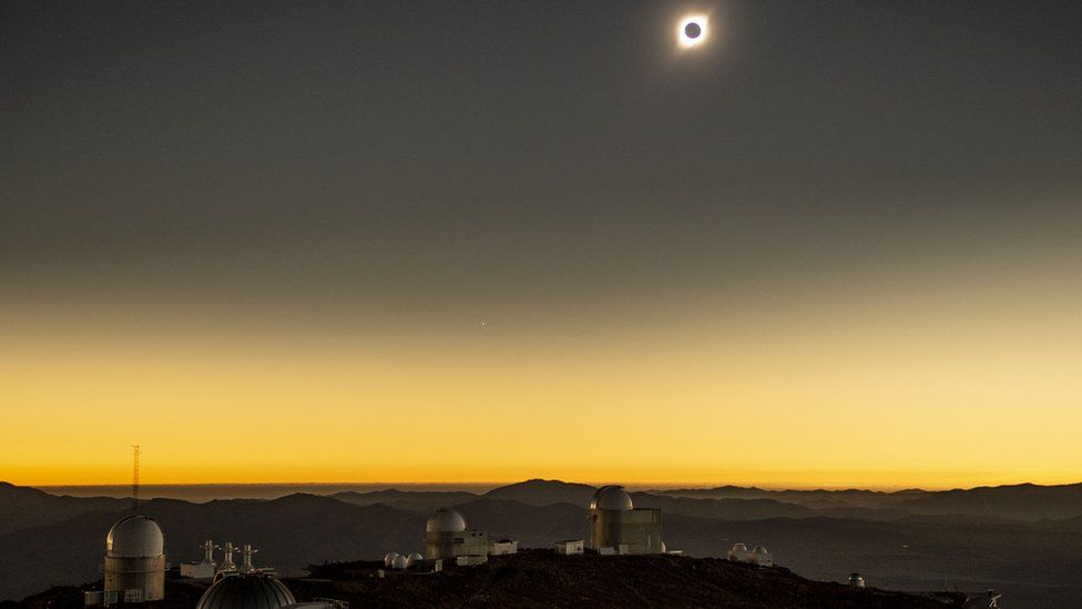 Solar eclipse as seen from the La Silla European Southern Observatory (ESO) in La Higuera, Coquimbo Region, Chile