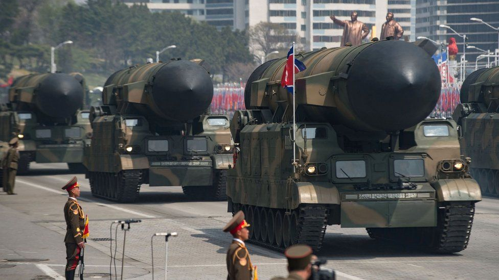Rockets are displayed during a military parade marking the 105th anniversary of the birth of late North Korean leader Kim Il-Sung in Pyongyang on April 15, 2017.