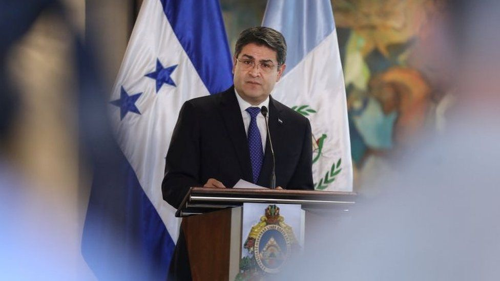 Honduras President Juan Orlando Hernandez speaks during a news conference with Guatemala's President Jimmy Morales (unseen), for the situation of the large caravan of Central American migrants trying to reach the United States, in Tegucigalpa, Honduras November 5, 2018.
