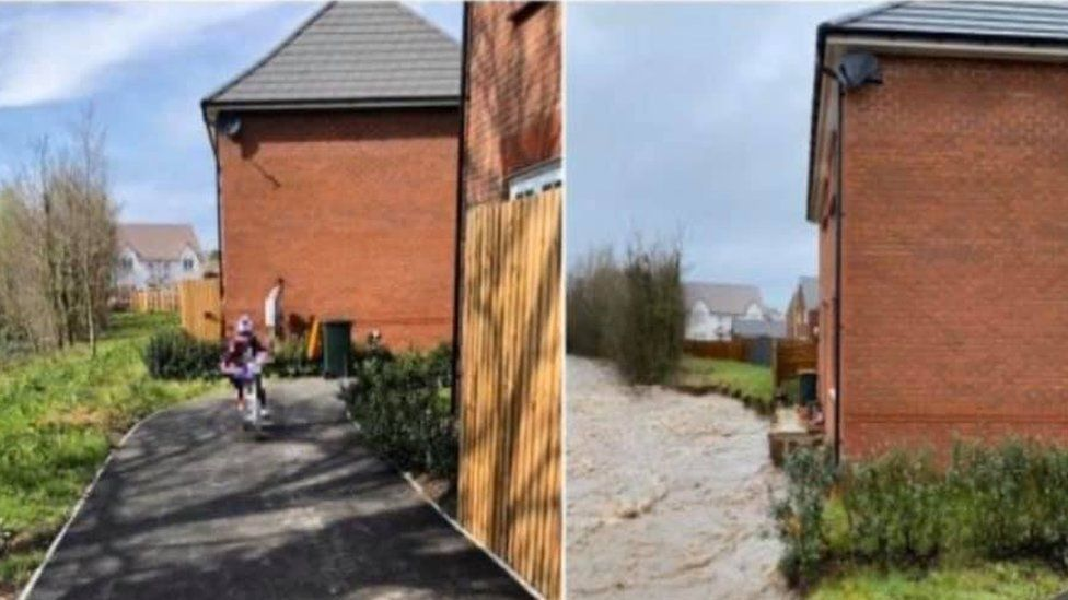 House before and after floods