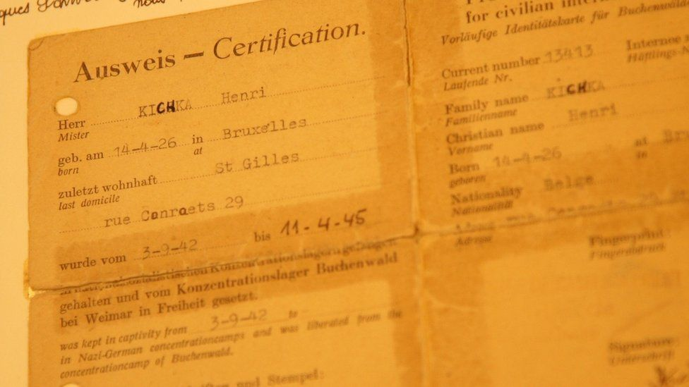 Kichka's ID card spells out his birthplace in Brussels