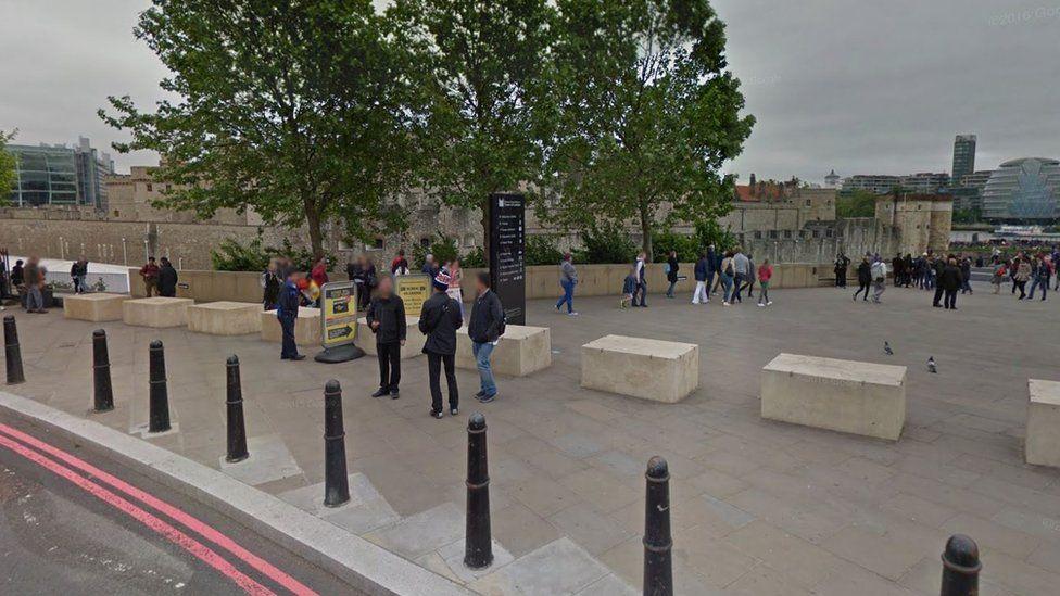 Concrete blocks near the Tower of London
