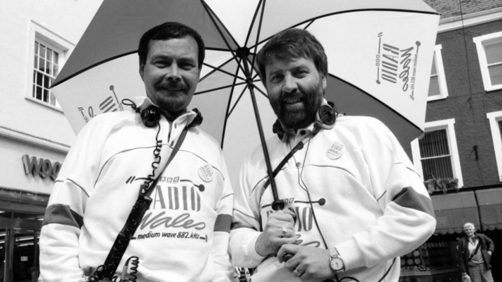 Frank Hennessy and Roy Noble at a roadshow in the 1980s