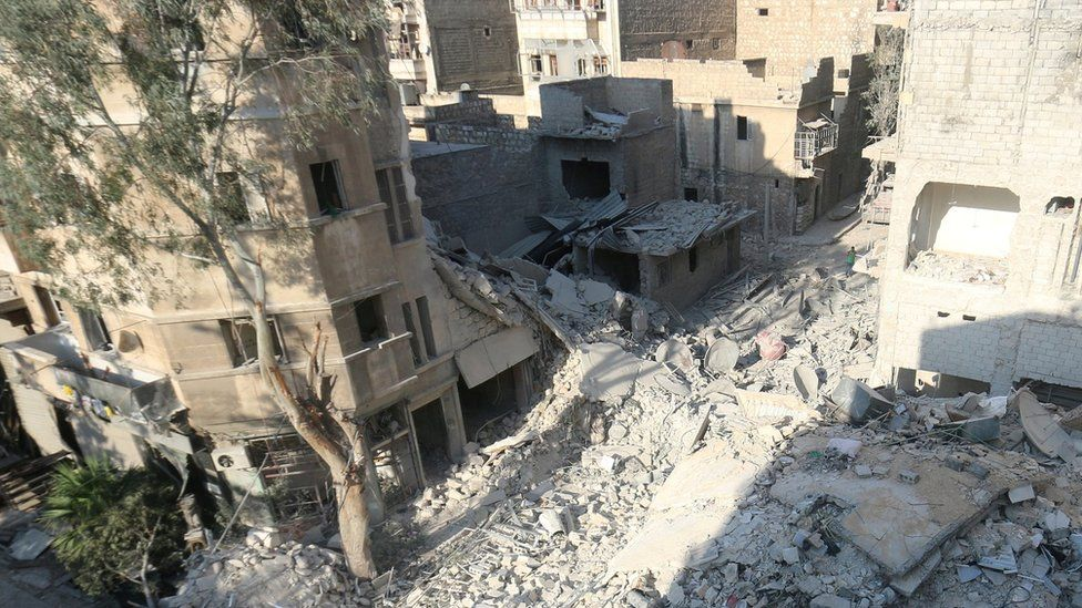 Site of air strike in rebel-held Qaterji district of Aleppo, Syria, where five-year-old Omran Daqneesh was rescued (18 August 2016)